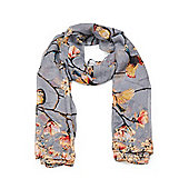 Grey Bird and Blossom Print Long Scarf