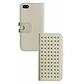 Trendz iPhone 5/5S Folio Case Cream Studded Case