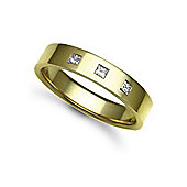 Jewelco London 9ct Yellow Gold 5mm Flat Court Diamond set 21pts Trilogy Wedding / Commitment Ring