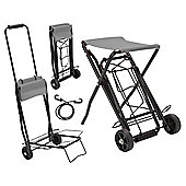 Summit Heavy Duty Folding Festival Luggage Trolley with Seat