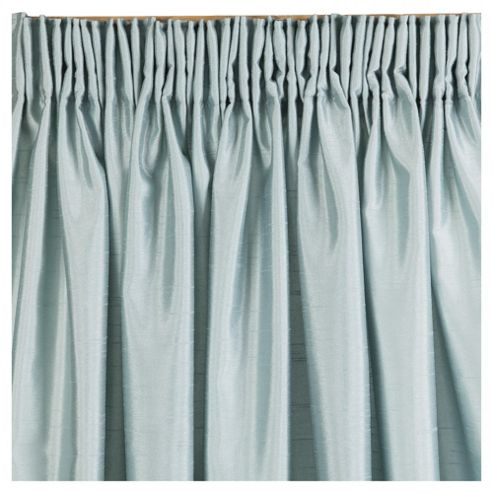 Faux Silk Lined Pencil Pleat Curtains W112xL137cm (44x54'') - Eau De Nil