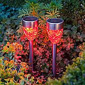 Set of 2 Red LED Prism Solar Garden Stake Lights