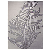 Esprit Feather Silver Novelty Rug - 70cm x 140cm