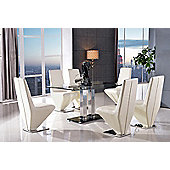 Roma Black Glass and Stainless Steel Frame 150 cm Dining Table with 4 Ivory Rita Chairs