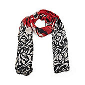 Red Stencil Rose Print Scarf