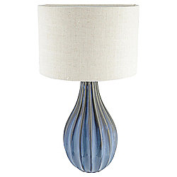 Buxton Ceramic Large Table Lamp, Sea Blue