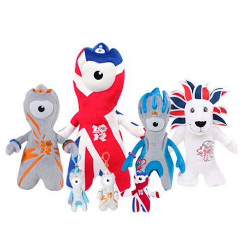 London 2012 4 Soft Toys and 3 Keyrings Mascot Souvenir Set