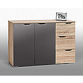 Maja- Möbel Sideboard - Sonoma-Oak / Grey High Gloss