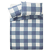 Tesco Basic Check Print Duvet Set KS Petrol