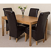 Bevel Solid Oak 150 cm with 4 Montana Leather Chairs (Brown)