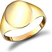 Jewelco London 9ct Solid Gold polished oval shaped Signet Ring