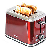 Brabantia BBEK1021-R 2 Slice Toaster - Red & Brushed Stainless Steel