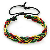Unisex Red, Yellow, Green & Black Rasta Bob Marley Waxed Cotton Cord Bracelet - Adjustable