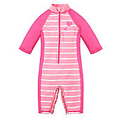 Mothercare Baby Girl's Pink Striped Sunsafe Suit - UPF 50+ Size 9-12 months
