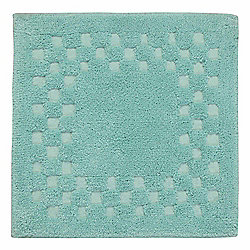Homescapes Cotton Check Border Teal Shower Mat