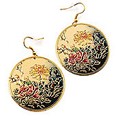 Japanese Style Floral Disk Earrings (Gold Tone)