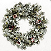 2ft Frosted Glacier Wreath with Pine Cones