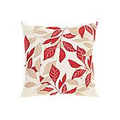 Linea Leaf Design Cotton Cushion, Red