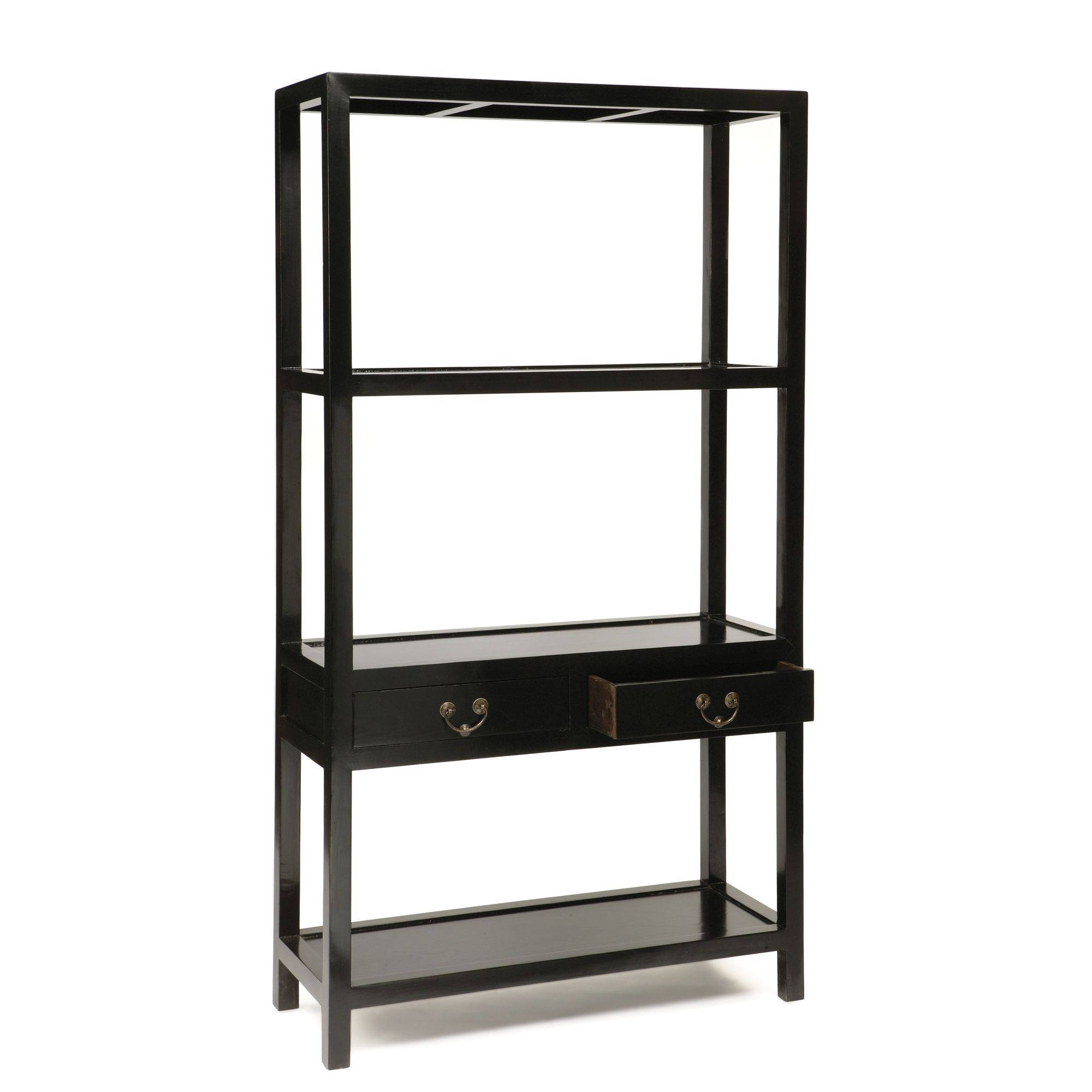 Shimu Chinese Classical Ming Bookshelf - Black Lacquer at Tesco Direct