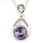 Rhodium Plated Light Amethyst CZ Teardrop Pendant - 38cm Length/ 6cm Extension