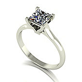 18ct Gold 5.5mm Square Brilliant Single Stone Moissanite Ring