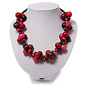 Cluster Wood Bead Cotton Cord Necklace (Pink, Red & Purple) - 40cm Length