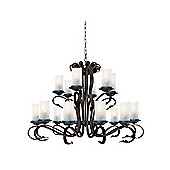 Large Rustic Ceiling Light with Scroll Arms and Cathedral Glass