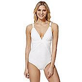 F&F Luxury Wrap Detail Swimsuit - White