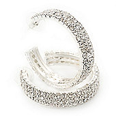 Three-Row Clear Swarovski Crystal Hoop Earrings In Rhodium Plated Metal - Medium (4.5cm Diameter)