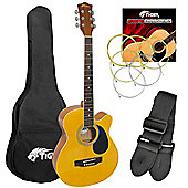 Tiger Full Size Natural Single Cutaway Acoustic Guitar Pack