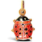 Jewelco London 9ct Yellow Gold Enamelled Lady Bird Charm