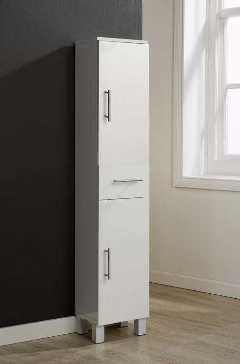 Elements Glacier High Gloss 2 Door / 1 Drawer Floor Cabinet