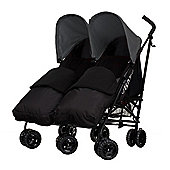 Obaby Apollo Black & Grey Twin Stroller with 2 Black Footmuffs - Grey