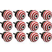 Nicola Spring Ceramic Cupboard Drawer Knobs - Stripe - Light Red - Pack Of 12