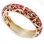 Gold Plated Red Enamel Swirl Patten Hinged Bangle Bracelet -17cm Length