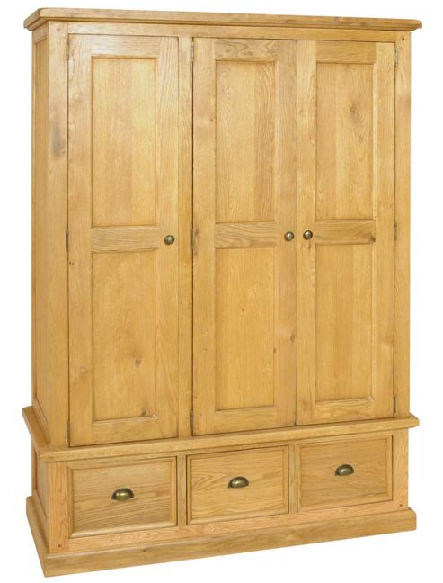 Ultimum Oxford Oak Triple Wardrobe with 3 Drawers