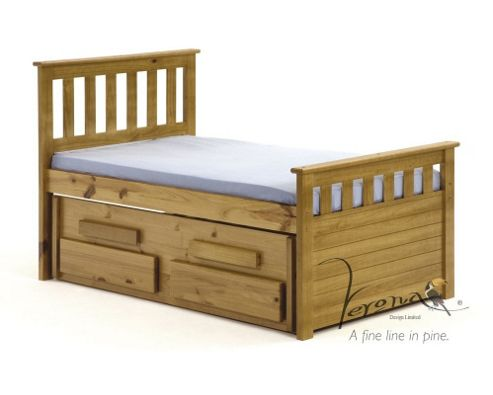 Verona Bergamo Kids Captains Bed with guest bed - Antique