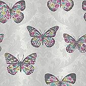 Midsummer Butterfly Wallpaper - Dove Grey - 661203