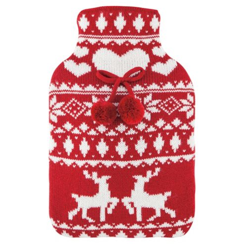 Scandi Reindeer & Heart Hot Water Bottle