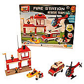 Block Tech Fire Station Rescue team