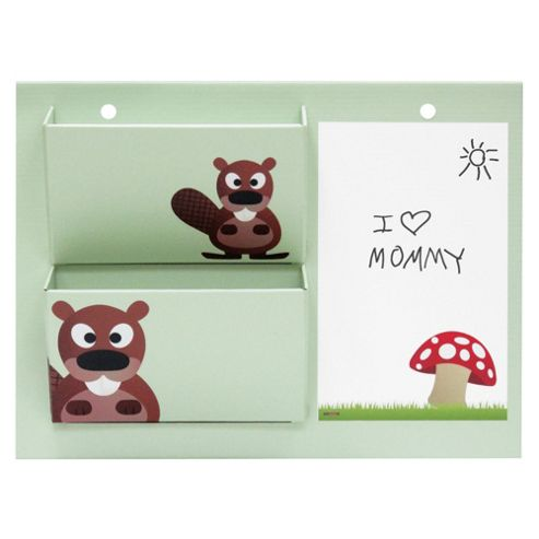 Kroom Dry Erase Wall Pockets & Memo Board (Animal Theme)