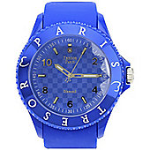 Tresor Paris Watch 018790 - Stainless Steel Bezel - Silicone Strap - Diamond Set Dial - 44mm - Blue