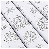 Tesco Glittered Snowflake Christmas Wrapping Paper, 3m