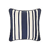 Linea Stripe Cotton Cushion, Navy Blue