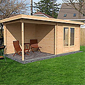 18ft x 8ft (5.5m x 2.5m) Pent Style Log Cabin (Single Glazing) 44mm T&G