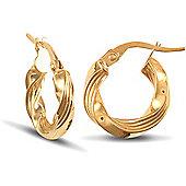 Jewelco London 9ct Yellow Gold Hoop Earring
