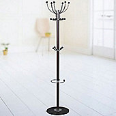 Brett - Metal Hallway Coat Hook Rack - Black / Silver