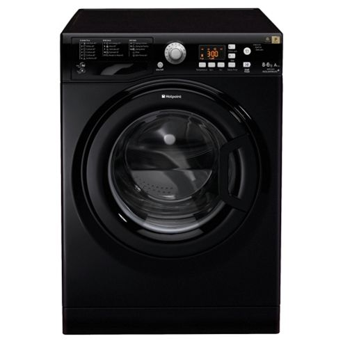 Hotpoint WDPG8640K Washer Dryer, 8kg Load, 1400 RPM Spin, A Energy Rating, Black