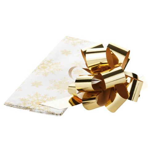 Tesco 3 Sheet Christmas Tissue Paper, Gold Snowflake With Pull Bow