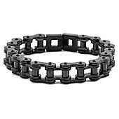 Urban Male Plain Black Stainless Steel Bike Chain Link Bracelet For Men
